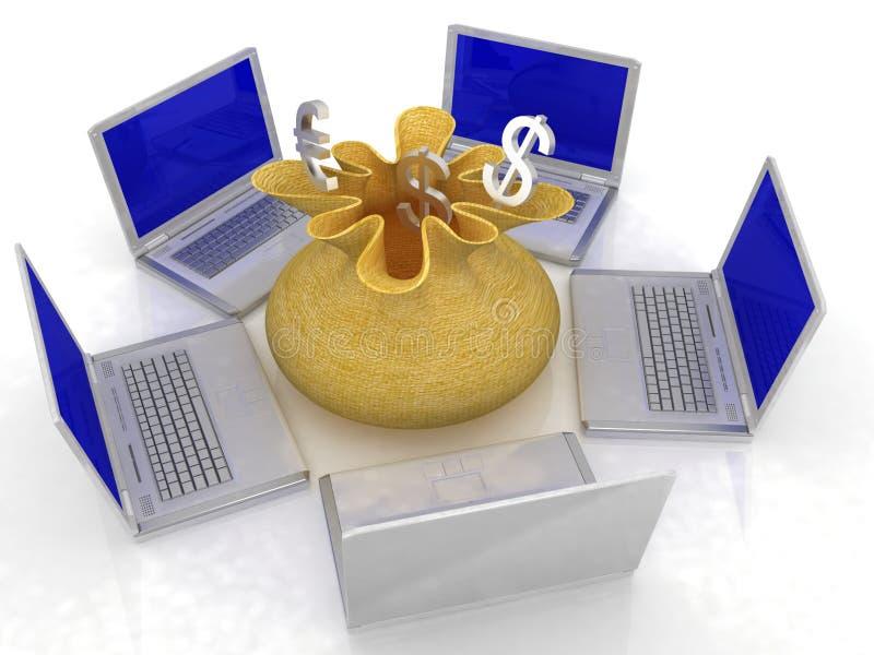 Online financieel netwerk vector illustratie