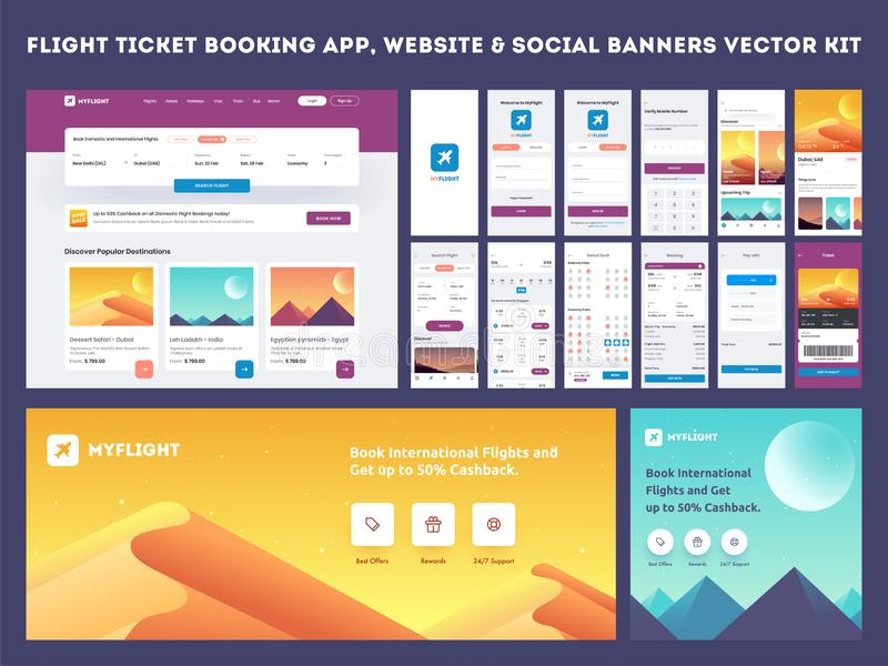 Online Flight Booking App onboarding website banner or template kit. vector illustration