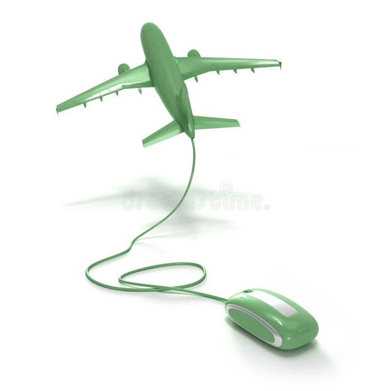 Online flight booking green stock illustration