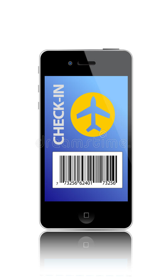 Download Online Flight Check-in Using A Smartphone Stock Vector - Illustration: 25206551