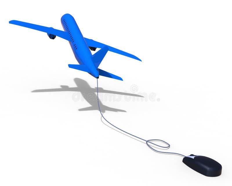 Online Flights Means World Wide Web And Aeroplane. Online Flights Representing World Wide Web And Website vector illustration