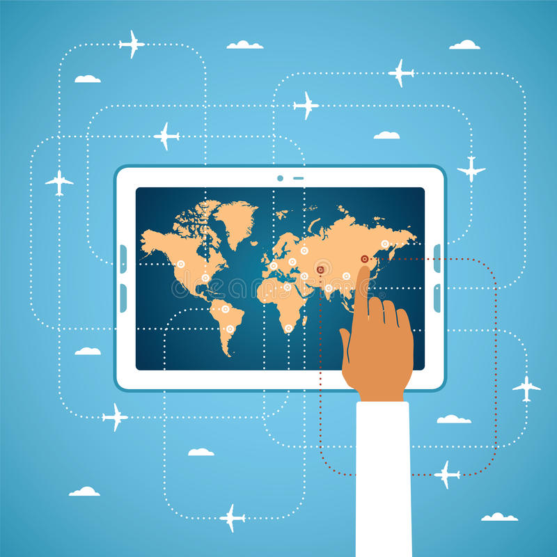 Online-flygbiljettbokning och globalt loppvektorbegrepp royaltyfri illustrationer