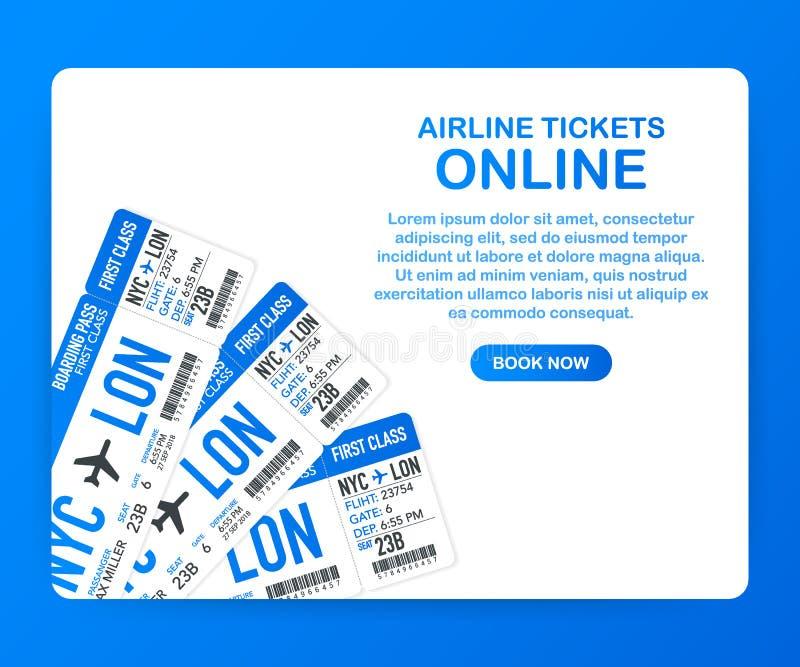 Online-flygbolagbiljetter Köpande eller bokningen etiketterar direktanslutet Lopp affärsflyg över hela världen också vektor för c royaltyfri illustrationer
