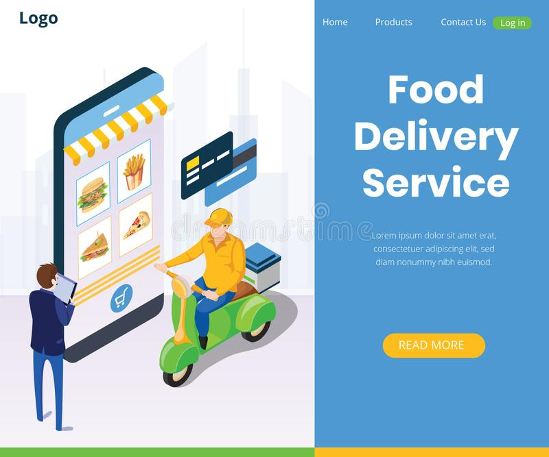 Online Food Delivery Services Global Positioning System royalty free illustration