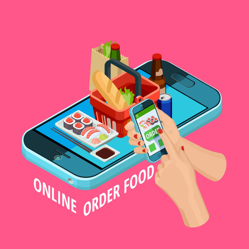 Online Food Order Isometric Ecommerce Poster. Easy online food order isometric advertisement poster with smartphone checkout grocery basket on pink background vector illustration