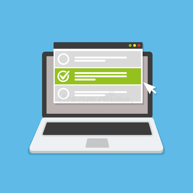 Online form survey on laptop. Vector illustration. Flat style design vector illustration
