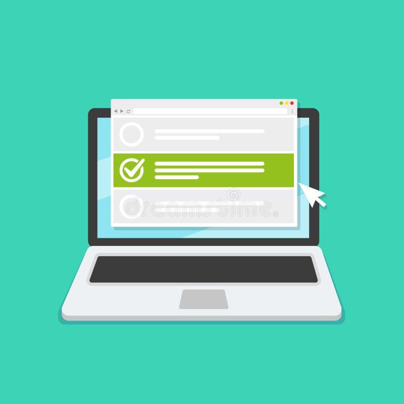 Online form survey on laptop. Vector illustration. Flat style design stock illustration