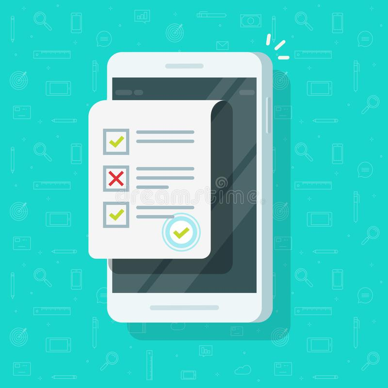 Online form survey on smartphone vector illustration, flat mobile phone with quiz exam sheet document icon and approved. Online form survey on smartphone vector vector illustration