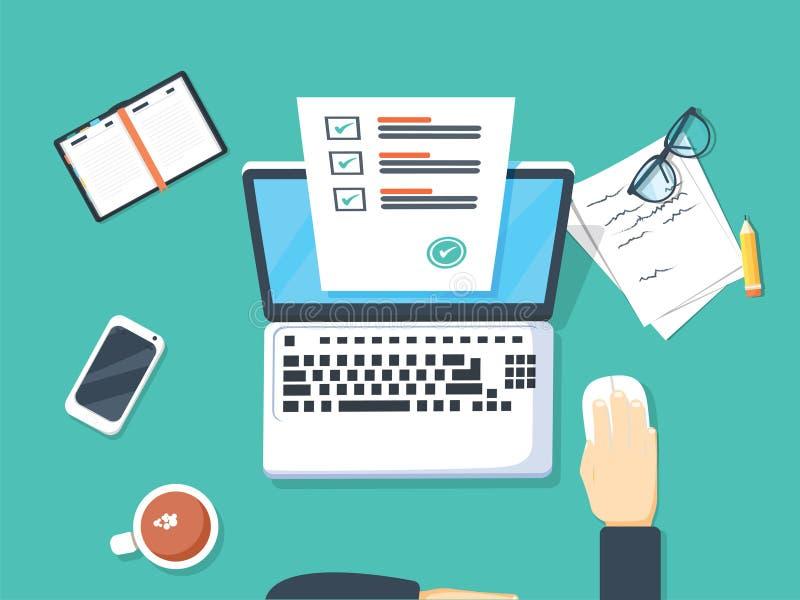 Online formularzowa ankieta na laptop wektorowej ilustraci, osoba pracuje na komputerze obraz stock