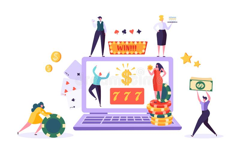 Online Gambling Internet Casino Concept. People Characters with Roulette, Chips, Slots, Dice, Jackpot. Man and Woman Playing Casino using Laptop. Vector stock illustration