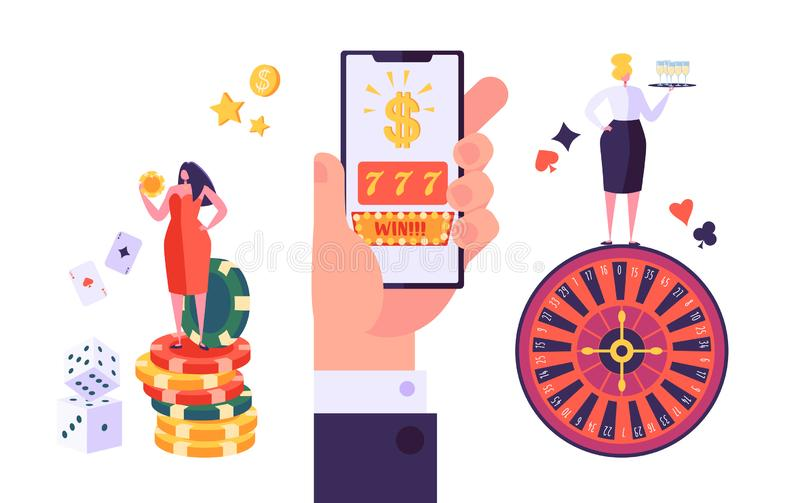 Online Gambling Internet Casino Concept. People Characters with Roulette, Chips, Slots, Dice, Jackpot. Playing Casino. Using Smartphone. Vector Illustration royalty free illustration