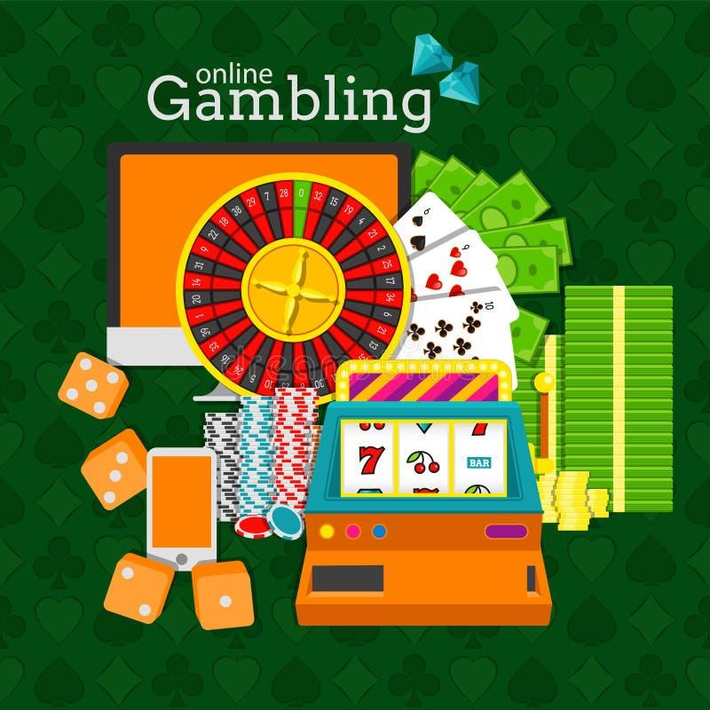 Online gambling vector illustration. Slot machine, roulette, desktop, phone, stacks of money, poker chips and dice cubes stock illustration