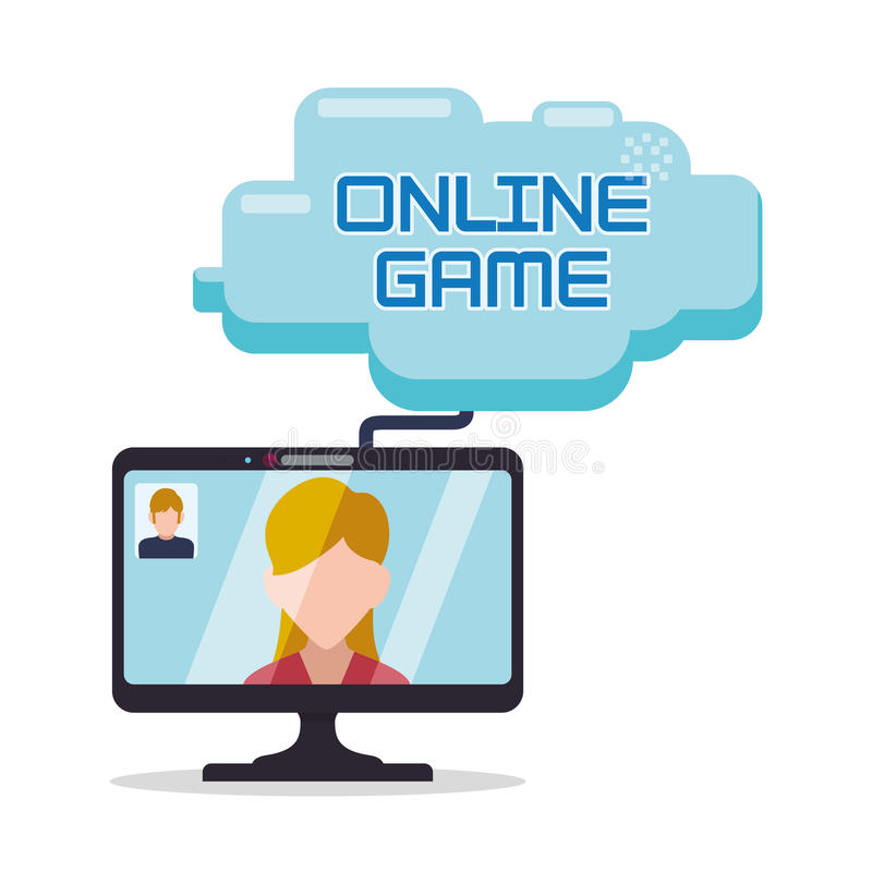 Online game computer girl man charatcer cloud. Illustration eps 10 vector illustration