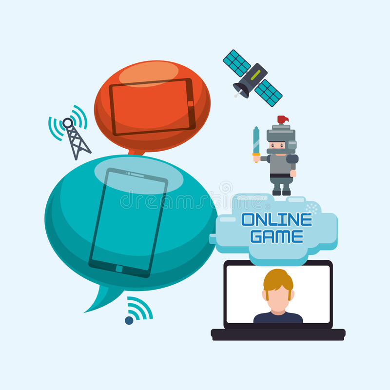 Online game laptop bubble speech character internet. Illustration eps 10 stock illustration