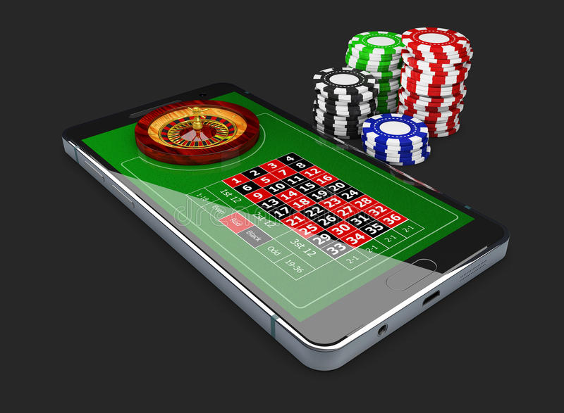 Online games web with phone casino roulette wheel isolated on black. Online play concept. 3d Illustration. Online games web with phone casino roulette wheel stock illustration