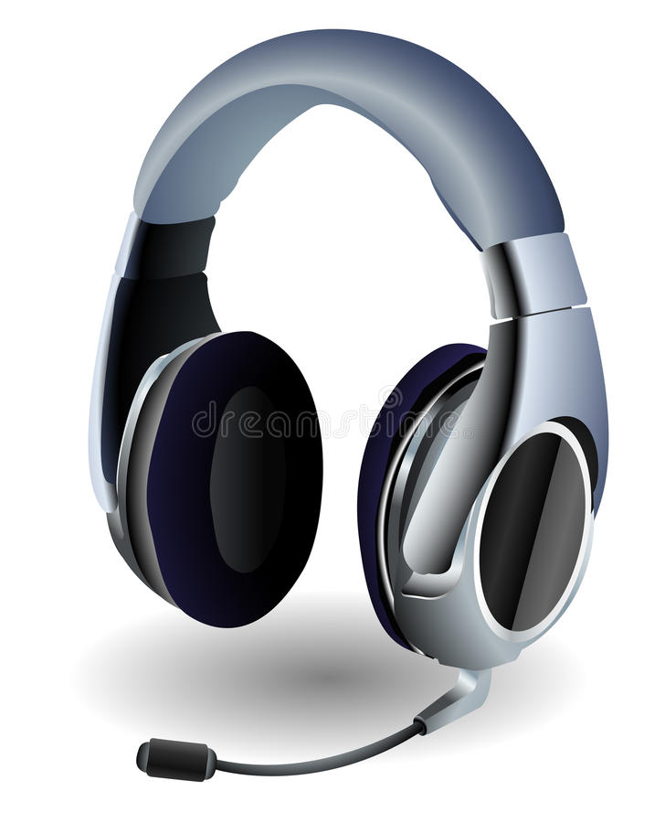Download Online gaming headset stock vector. Image of phone, headphone - 11574508
