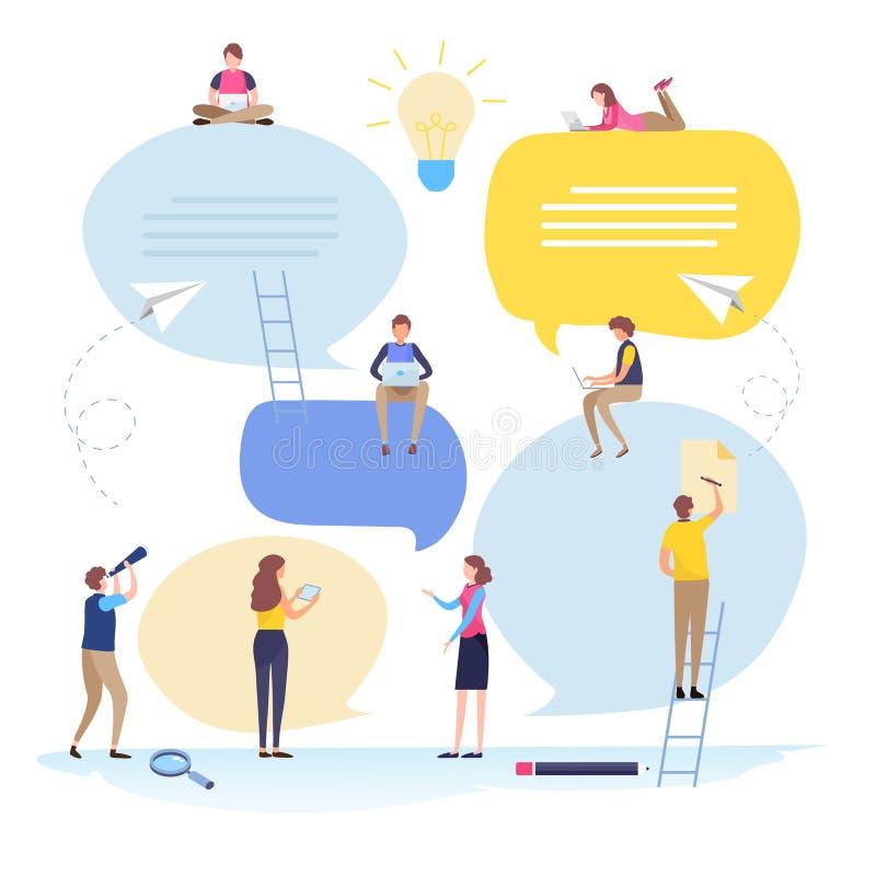 Online gemeenschap, bedrijfsmensen, Rekrutering, Personeel, Toespraakbel, bericht, praatje, gesprek, mededeling vlak stock illustratie