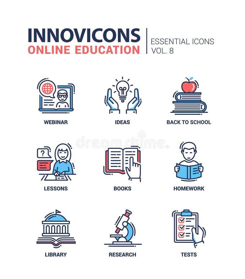 Online geplaatste het ontwerppictogrammen van de onderwijslijn royalty-vrije illustratie