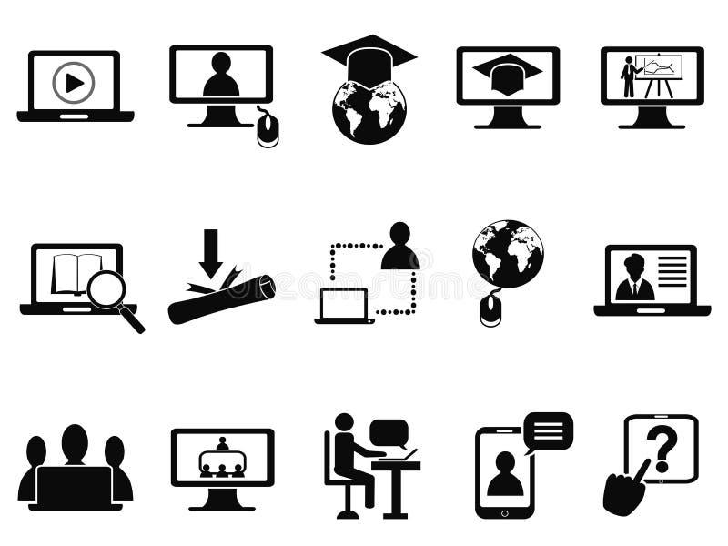 Online geplaatste klassenpictogrammen vector illustratie