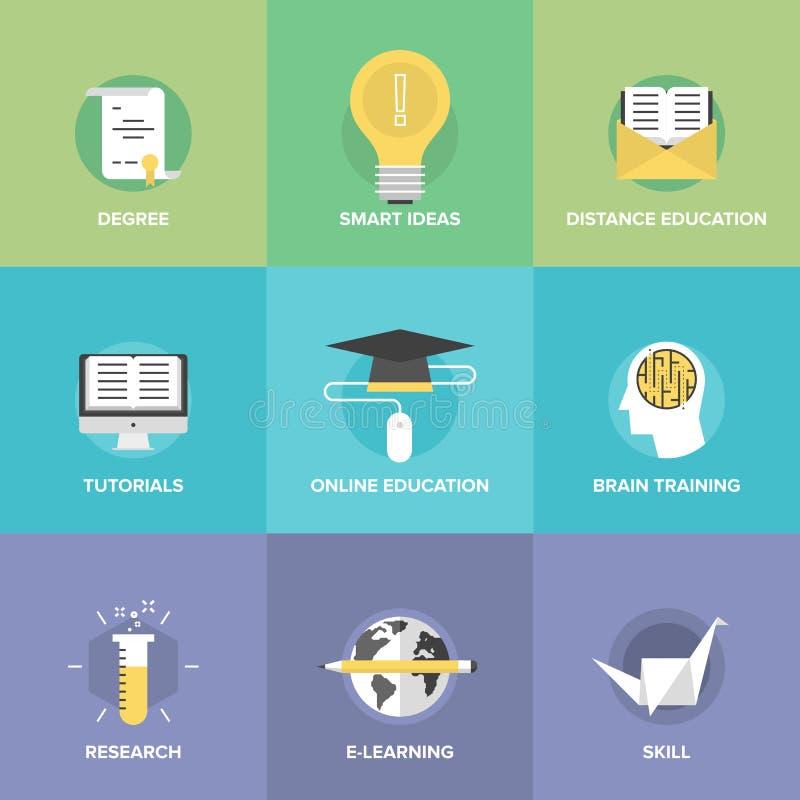 Online geplaatste onderwijs vlakke pictogrammen stock illustratie