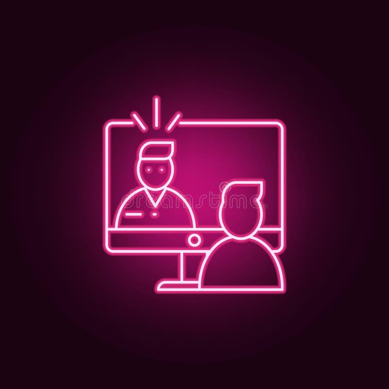 Online Gesprekspictogram Elementen van gesprek in de pictogrammen van de neonstijl Eenvoudig pictogram voor websites, Webontwerp, royalty-vrije illustratie