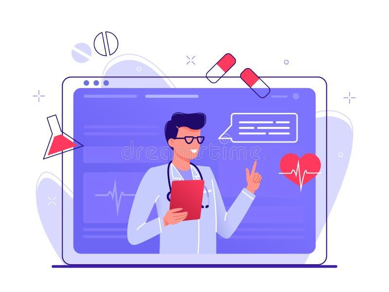 Online gezondheidszorg Medisch Overleg door Internet met Arts Het concept van de geneeskunde De medische Dienst online voor Pati? stock foto's