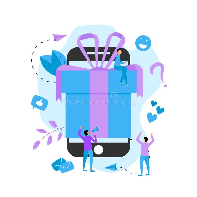 Online gift box. Promotion of online store or shop loyalty program and bonus. stock illustration