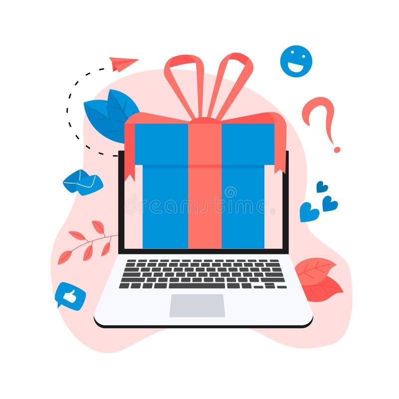 Online gift box. Promotion of online store or shop loyalty program and bonus. Vector illustration for advertisement stock illustration