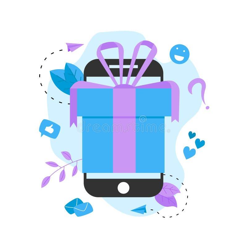 Online gift box. Promotion of online store or shop loyalty program and bonus. royalty free illustration