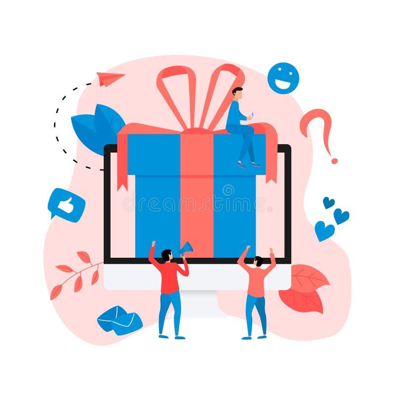 Online gift box. Promotion of online store or shop loyalty program and bonus. Vector illustration for advertisement vector illustration