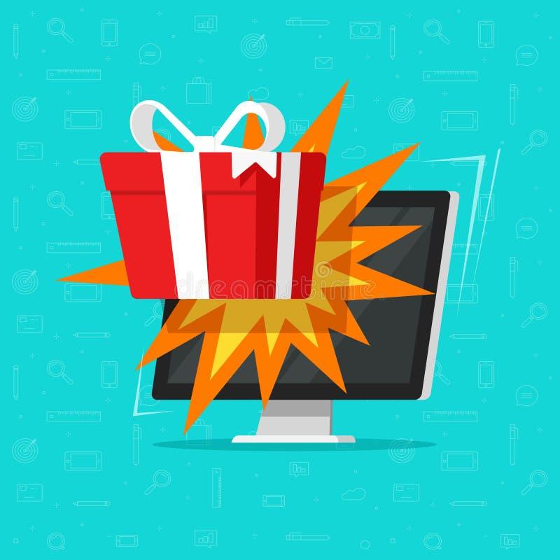 Online gift from computer monitor vector illustration, flat cartoon desktop pc gift box, concept of on-line bonus prize stock illustration