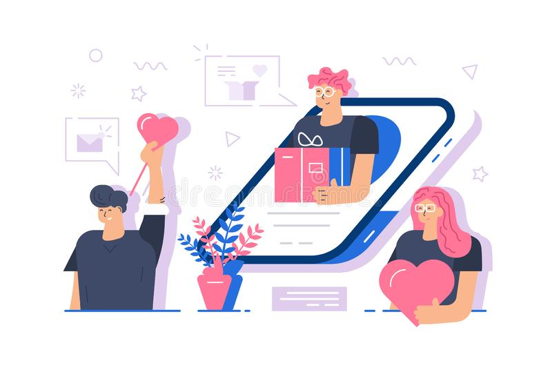 Online gifts service vector illustration