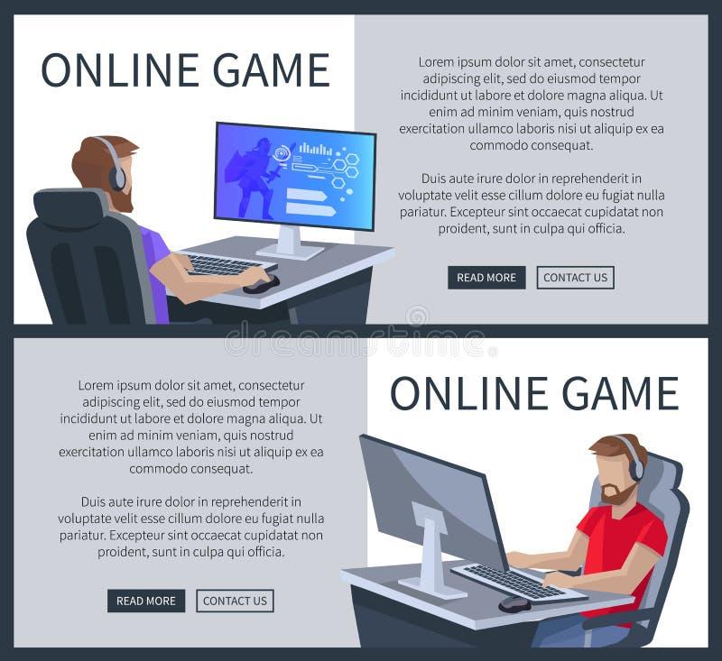 Online Gokkenaffiche met de Mens die Cyber-Spelen spelen royalty-vrije illustratie
