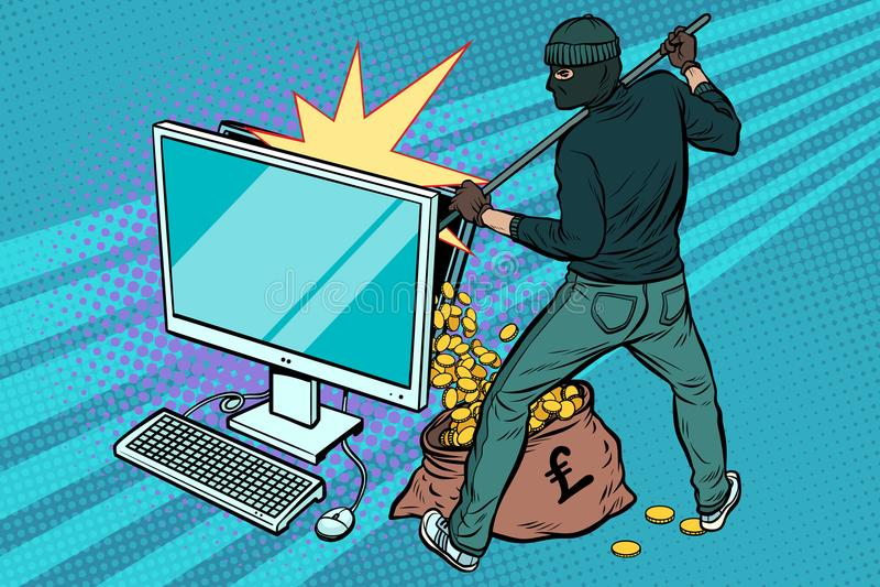Online hacker steals pound money from computer vector illustration