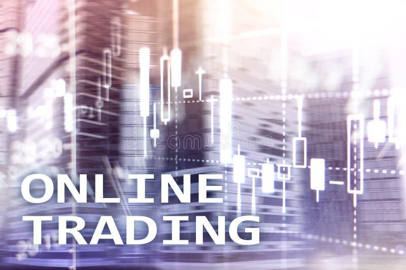 Online handel drijvend, FOREX, Investeringsconcept op vage commerciële centrumachtergrond stock foto