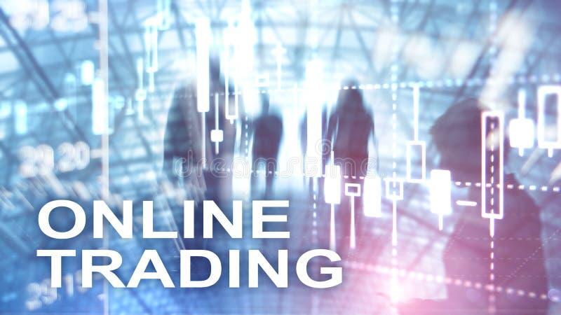 Online-handel, FOREX, investeringbegrepp på suddig bakgrund för affärsmitt stock illustrationer