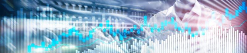Online-handel, FOREX, investeringbegrepp på suddig bakgrund för affärsmitt Websitetitelradbaner stock illustrationer
