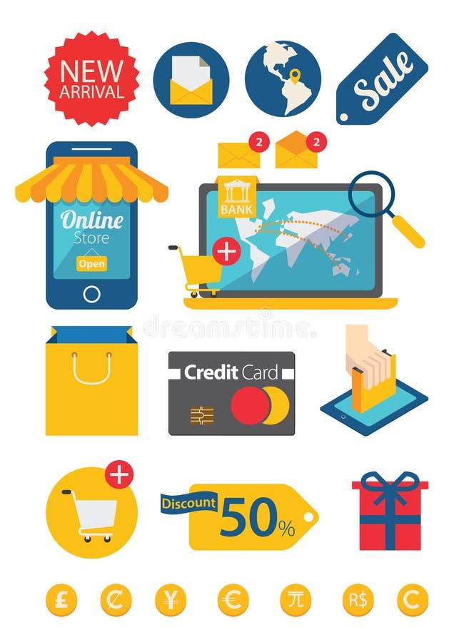 Online handel ikony set ilustracji