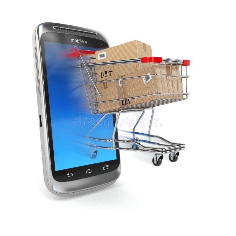 Online handel, Mobiel telefoon en boodschappenwagentje. vector illustratie