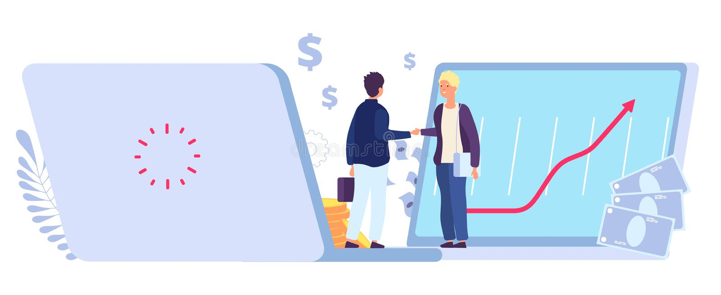 Online-Handel Partnerabkommen im E-Commerce, gewinnbringende Geschäftsbeziehungen Gewinn aus der finanziellen Handelspartnerschaf vektor abbildung
