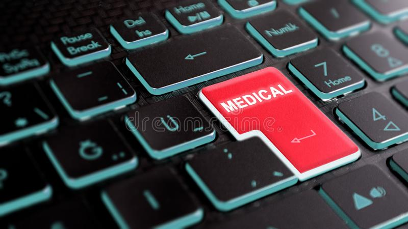 Online health care operations concept visual. medicine text on keyboard stock photo