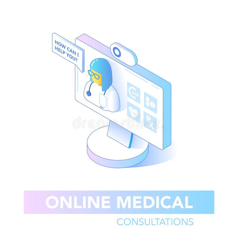 Online Healthcare Isometric Concept  Medical Consultation