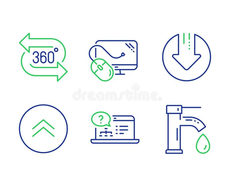 Online help, Swipe up and Computer mouse icons set. Download arrow, 360 degree and Tap water signs. Vector. Online help, Swipe up and Computer mouse line icons royalty free illustration