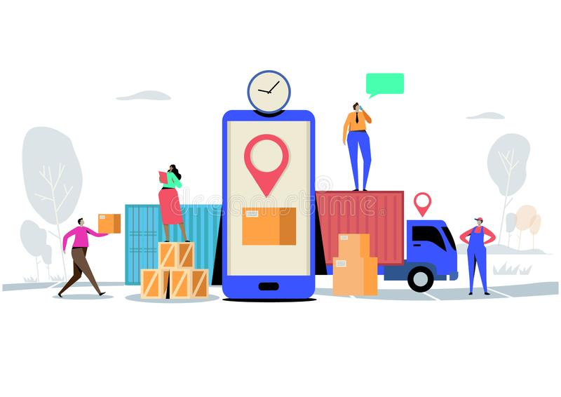 Online-hemsändningbegrepp, beställning, last, mobil App, GPS spårningservice Världsomspännande logistisk leverans Plan tecknad fi royaltyfri illustrationer