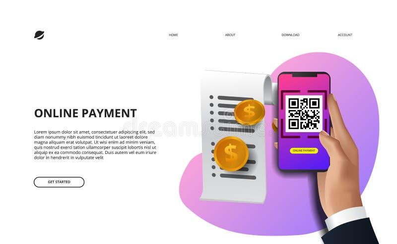 Online het aftasten qr code van de betalingsrekening met smartphone stock illustratie