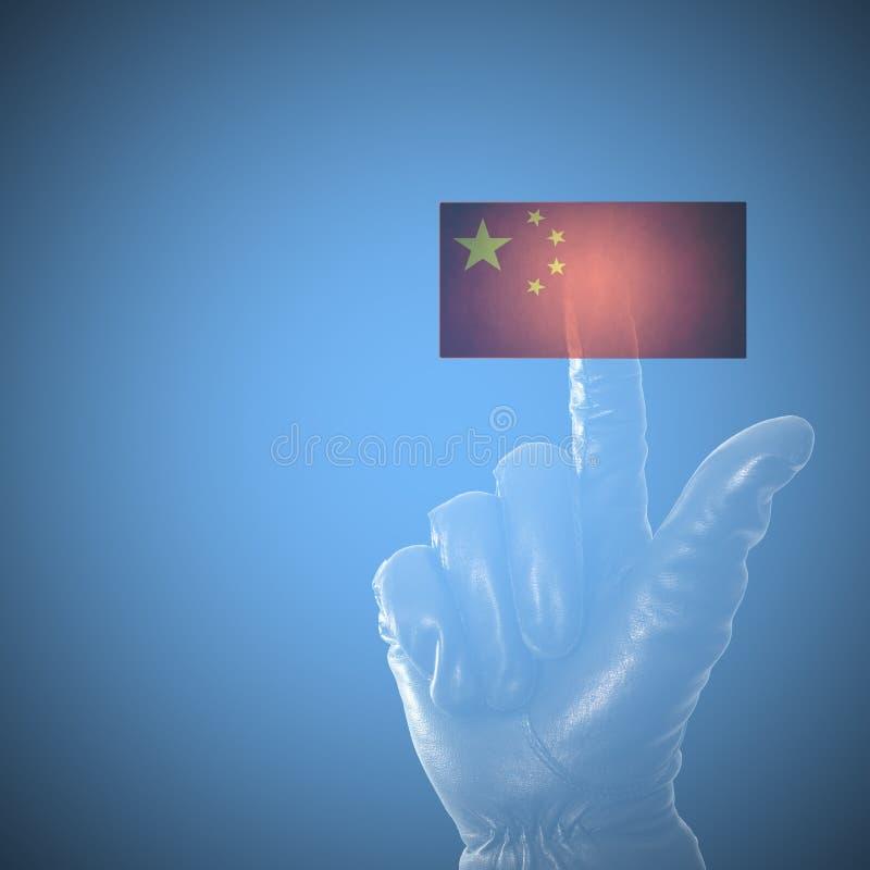 Online het binnendringen in een beveiligd computersysteem China concept stock fotografie