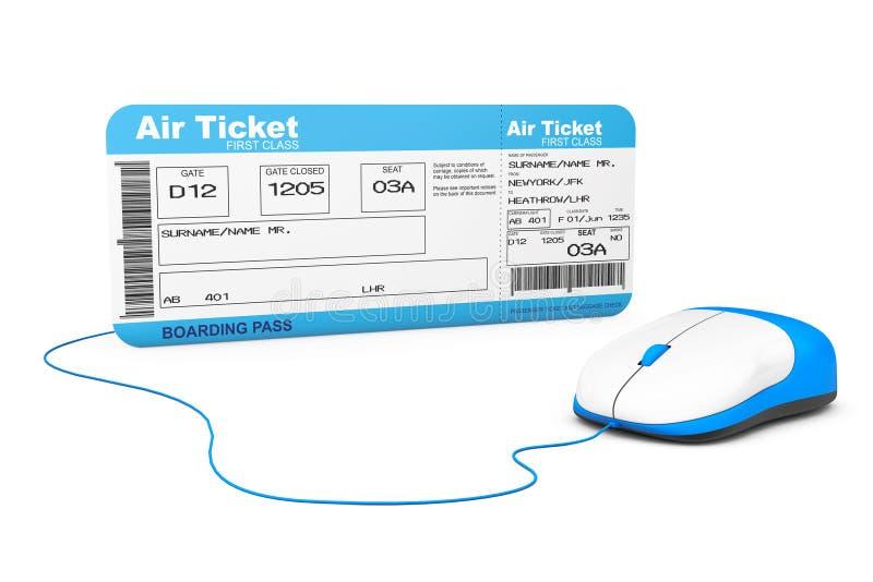 Online het boeken concept Het kaartje van de luchtvaartlijn instapkaart en verwerkt gegevens royalty-vrije illustratie