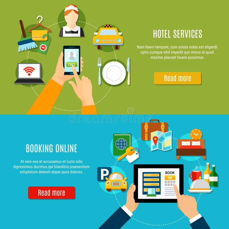 Online het Boeken Horizontale Banners vector illustratie