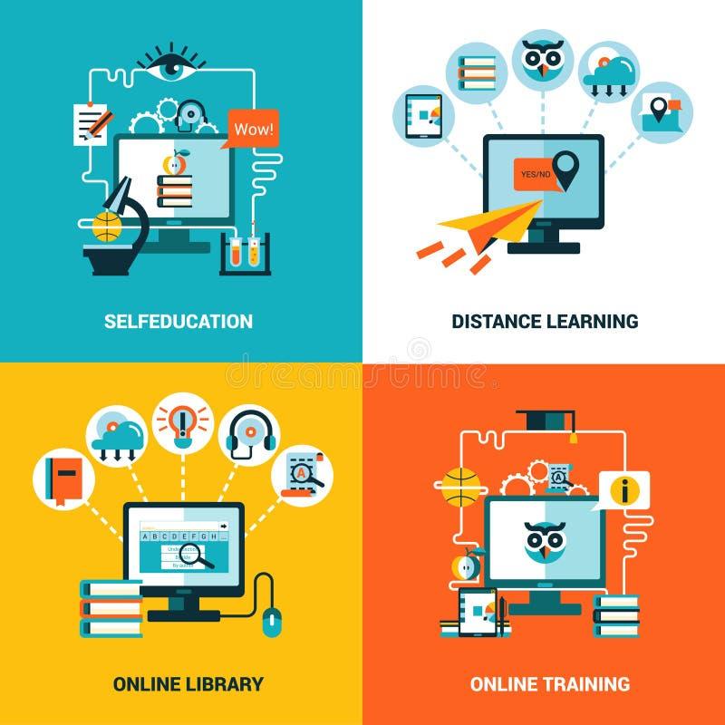 Online het Conceptenreeks van het Onderwijsontwerp vector illustratie