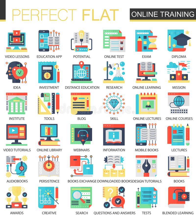 Online het conceptensymbolen van het onderwijs vector complexe vlakke pictogram voor Web infographic ontwerp royalty-vrije illustratie